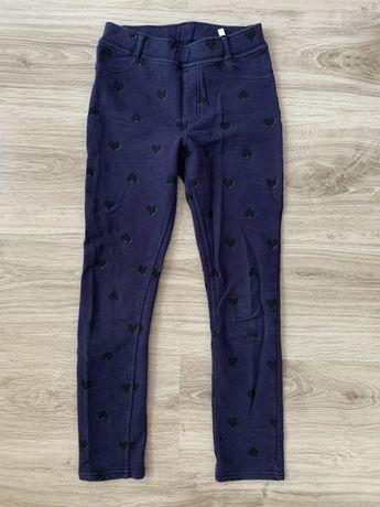 H&M spodnie rurki joggery granatowe w serduszka roz 140