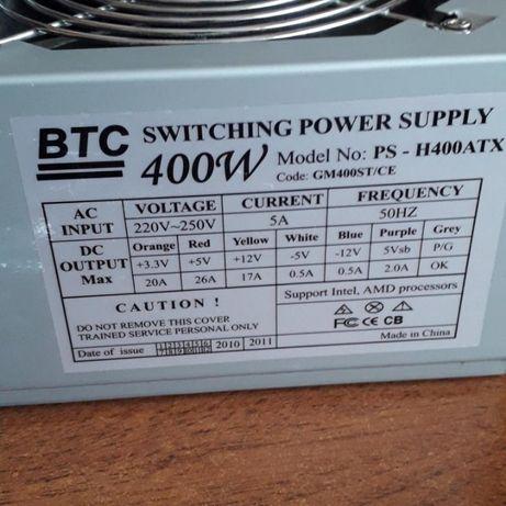 Блок питания BTC PS-H400ATX 400W