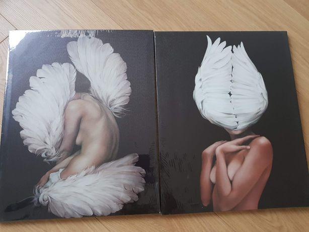 Komplet obrazów kobieta z piórami