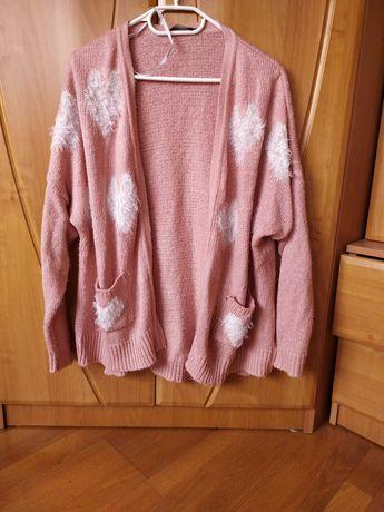 Sweter kardigan pudrowy róż jesień