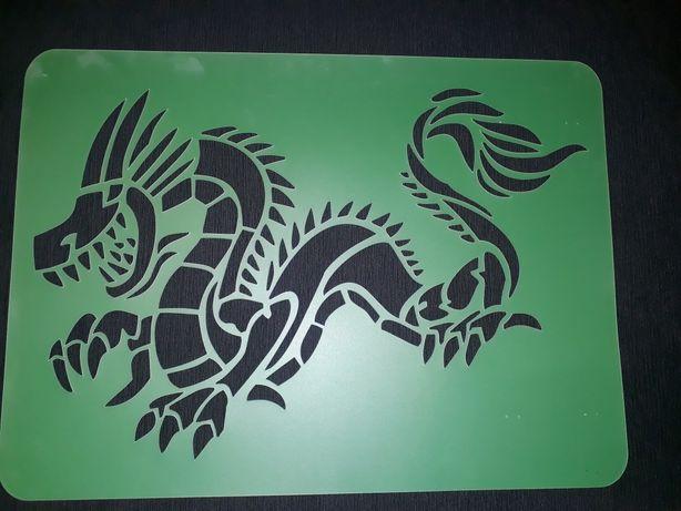 Szablon malarski dekoracyjny na ścianę dragon XXL 60×44 cm