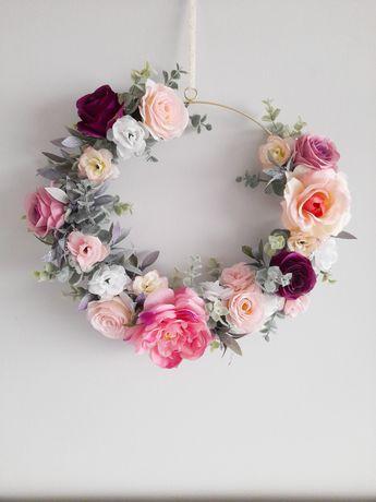 Wianek obrecz kwiatowy 30 ozdoba na drzwi dekoracja wiosenna