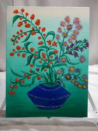 Картина ,, Осенний букет ,, 40x30 масло , холст на подрамнике .