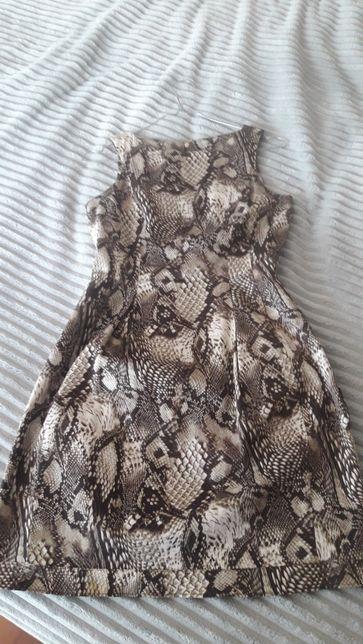 Sukienka krótka rozkloszowana wesele komunia rozm 34 panterka Mohito