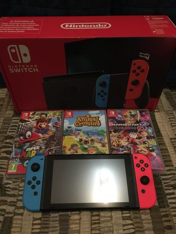 Nintendo Switch V2 Neon + Jogos