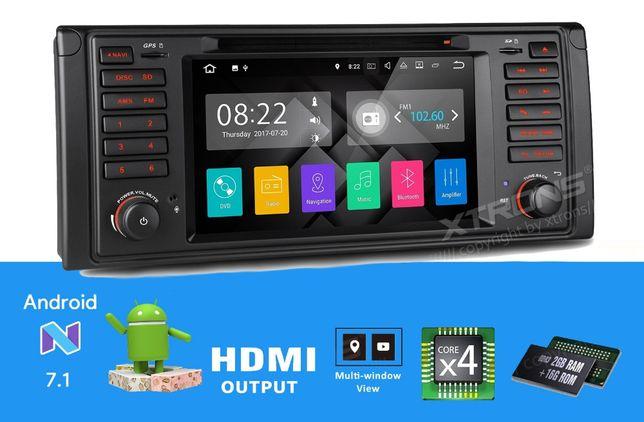 """Rádio BMW E39 E53 Android 7.1 Quad-Core Ecrã 7"""" HD 2GB RAM Wifi GPS BT"""
