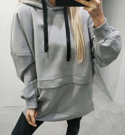 Bluza Zara oversize XS s m szara z kapturem nowa z metkami