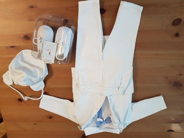 Ubranko ubranie do chrztu dla chłopca muszka buciki czapeczka 68 białe