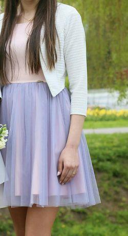 Sukienka tiulowa A&A, pudrowy róż, szara, na wesele r.36/38