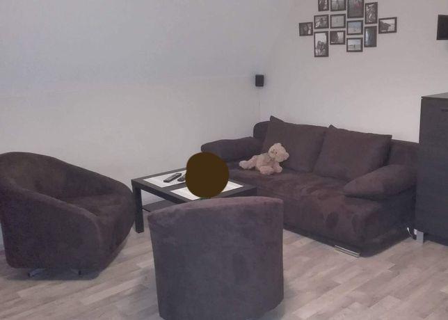 Sofa + dwa fotele obrotowe wenge brąz ciemny brąz