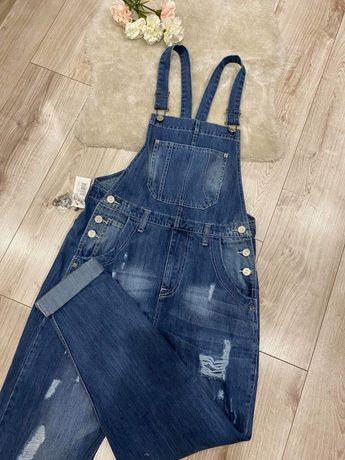 Nowe z metkami męskie ogrodniczki z przetarciami jeansowe 40 z dziuram