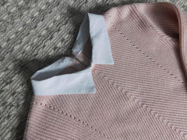 sweter damski z kołnierzykiem roz S, pudrowy róż