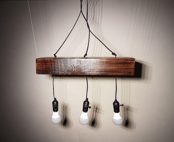 Lampa wisząca drewniana. (Styl rustykalny, Vintage)