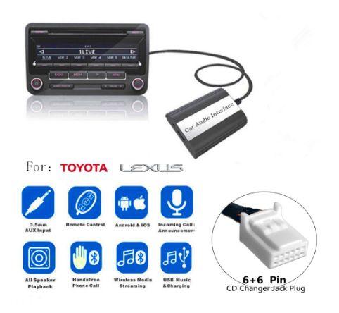 USB AUX Bluetooth адаптер Toyota Lexus MP3 емулятор CD чейнджера 6+6