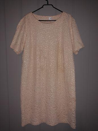 Sukienka 48 morelowa tłoczone wzory
