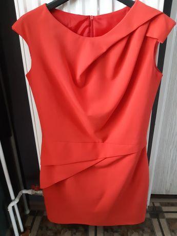 Sukienka koktajlowa czerwona koralowa s xs