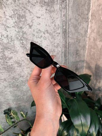 Узкие солнцезащитные очки кошачий глаз fox eye cat узкие тренд ретро
