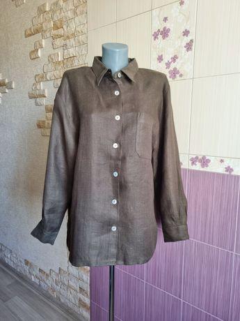 Винтажная льняная концептуальная рубашка ломаная саржа