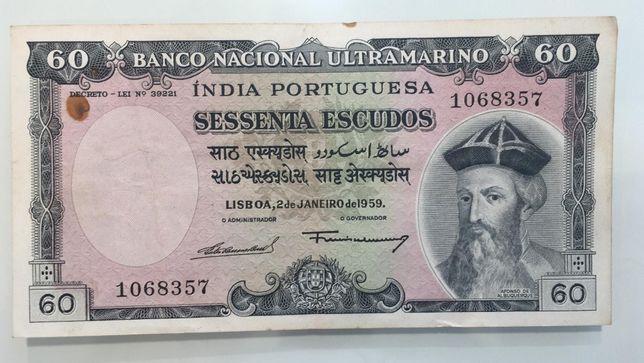 Nota Portugal Índia 60 escudos