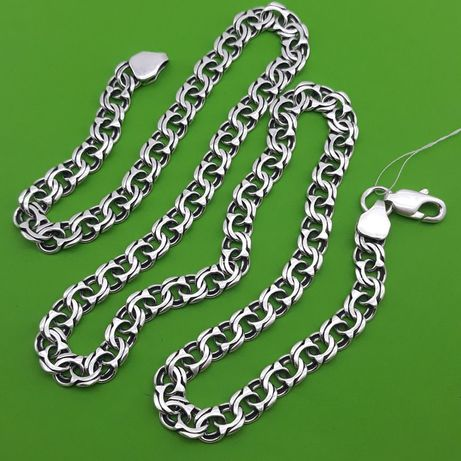 ХИТ ПРОДАЖ Серебряная цепь бисмарк Серебро 925 пробы цепочка на шею