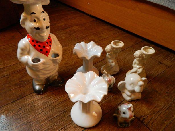 Figurki porcelana świeczniki słoniki kucharz ozdoby