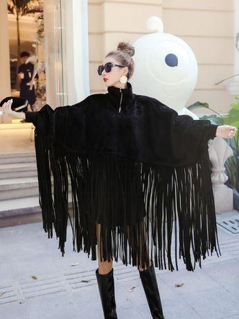 Kurtka narzutka frędzle Fashion M L