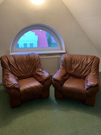 Komplet super wygodnych foteli z prawdziwej skóry