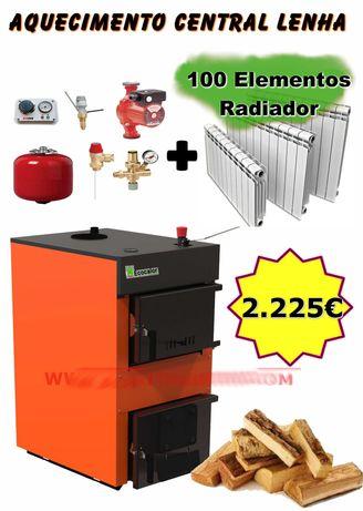 Kit Caldeira Lenha 35Kw + 100 Elementos Radiador