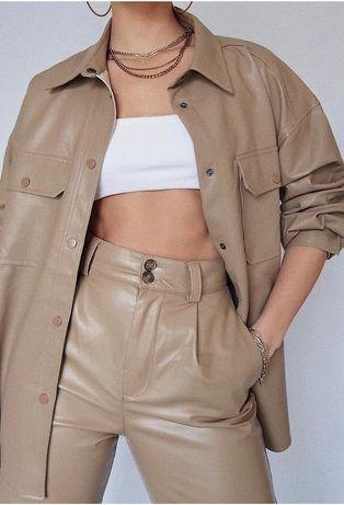 Zara blogerski spodnie ze sztucznej skóry beż L