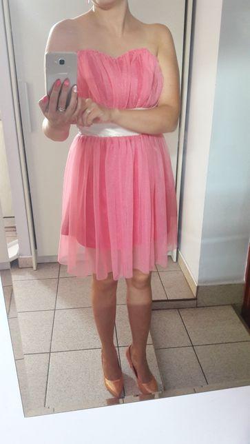Sukienka róż amarant tiul piękna S/M