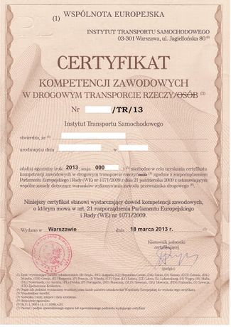 użyczenie certyfikatu przewoźnika Siedlce.
