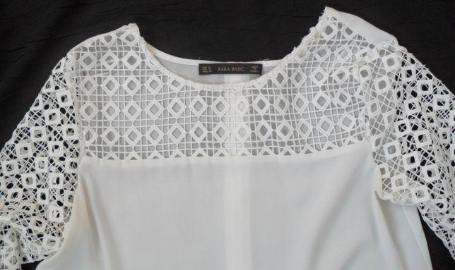 bluzka biała koronka zara basic M