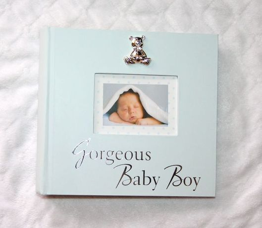 album na zdjęcia dla dziecka chrzest roczek srebrny srebro miś