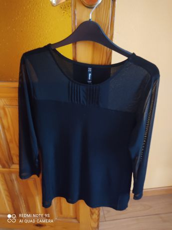 Bluzeczka bluzka czarna przezroczysta roz L