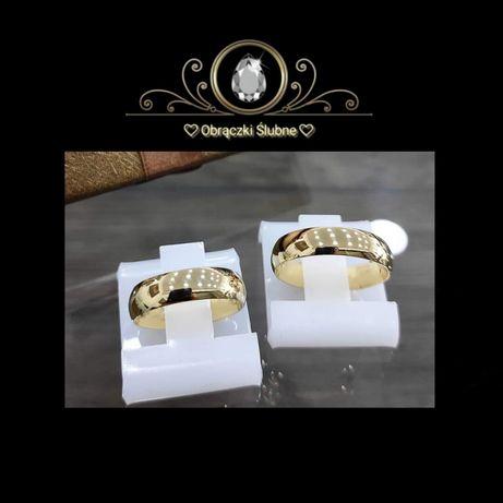 Wspaniała Para Klasycznych Złotych Obrączek Ślubnych