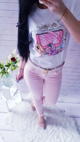 Spodnie pudrowy róż lajkra ostatnie w super cenie