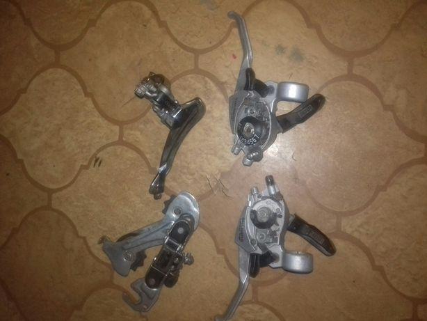 Stalowe 2 komplety biegów i przerzutek 3x7 do roweru 100% sprawne
