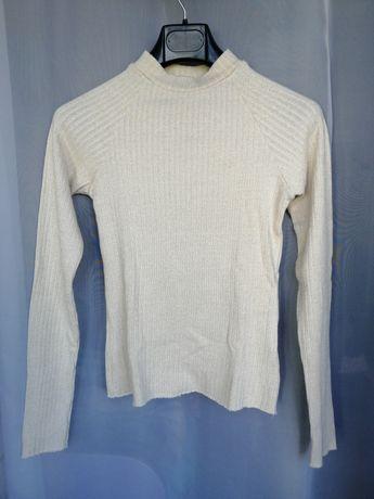 Camisola de malha elástica beje e dourada (tamanho XS)- PORTES GRÁTIS