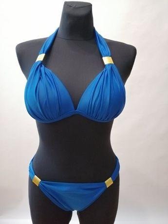 NOWY Strój dwuchęściowy Kostium kąpielowy Bikini PUSH-UP Granat S L,XL
