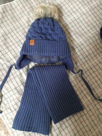 Шапочка с шарфиком зимняя теплая на мальчика