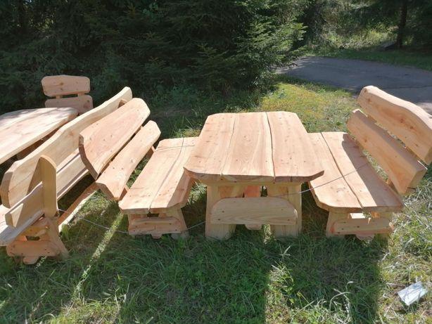 Meble ogrodowe biesiadne drewniane 2 ławki stół