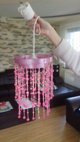 Lampa różowa koraliki