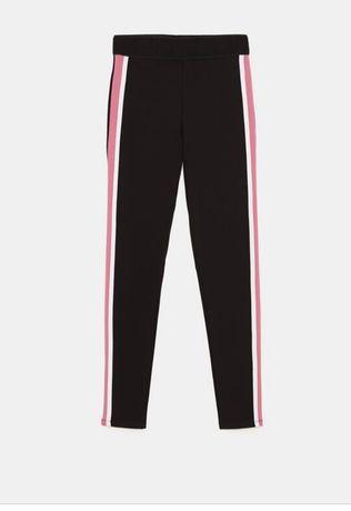 Zara Basic czarne legginsy na gumie z lampasem r L