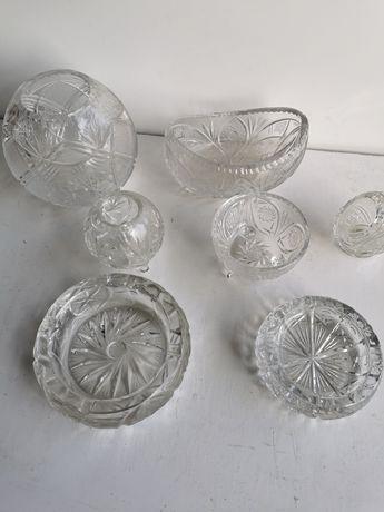 Kryształy popielniczka cukiernica 7szt