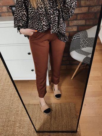 Brązowe klasyczne spodnie cygaretki eleganckie proste basic minimal