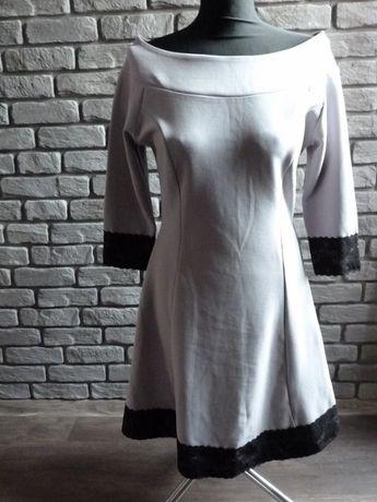 Sukienka M rozkloszowana szara