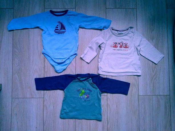 Dwie bluzki oraz body chłopięce