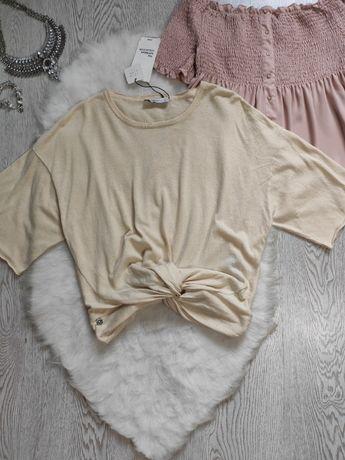 Бежевый короткий тонкий свитер джемпер кроп топ с узлом футболка ZARA