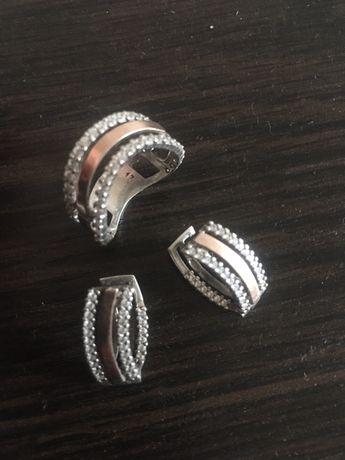 Продам срібний набір із золотими пластинами