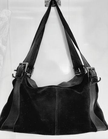 Кожаная сумка DIAMOND, чёрная с замшевой вставкой.